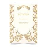 Карточка приглашения, карточка свадьбы с орнаментальной мягкой предпосылкой Стоковое Изображение