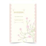 Карточка приглашения, карточка свадьбы с орнаментальной розовой предпосылкой Стоковые Изображения RF