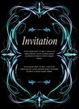 Карточка приглашения, карточка свадьбы с орнаментальной темной предпосылкой Стоковые Фотографии RF