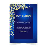 Карточка приглашения, карточка свадьбы с ornamental на голубой предпосылке Стоковые Фотографии RF