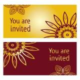 Карточка приглашения мандалы винтажная декоративная Стоковая Фотография