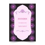 Карточка приглашения, предпосылка карточки свадьбы орнаментальная темная Стоковые Фотографии RF