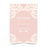Карточка приглашения, предпосылка пинка карточки свадьбы иллюстрация штока