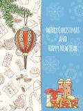 Карточка приглашения рождества и Нового Года иллюстрация штока