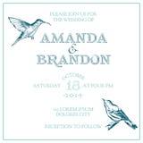 Карточка приглашения свадьбы винтажная Стоковая Фотография
