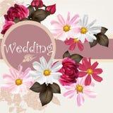 Карточка приглашения свадьбы с цветками иллюстрация вектора