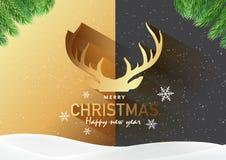 Карточка приглашения с Рождеством Христовым партии, предпосылка, вектор Illust Стоковые Изображения