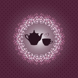 Карточка приглашения с чайником и чашкой Стоковые Изображения RF