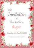 Карточка приглашения цветка Стоковые Фотографии RF