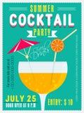 Карточка приглашения для партии коктеиля лета Стоковая Фотография