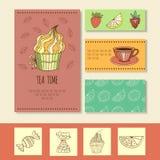 Карточка приглашения для сумашедшего чаепития или милая визитная карточка не совсем чистого дела для чайной комнаты, иллюстрации  иллюстрация штока