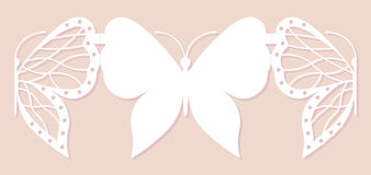 Карточка приглашения, wedding украшение, элемент дизайна Элегантный отрезок лазера бабочки также вектор иллюстрации притяжки core Стоковая Фотография