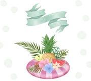 Карточка при цветки bounquet сформированные для текста день иллюстрации приветствия торжества Рамка ленты лета бассейна тропическ бесплатная иллюстрация