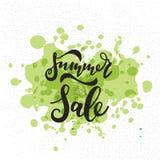 Карточка продажи лета Литерность нарисованная рукой Современная каллиграфия Иллюстрация чернил Стоковое Фото