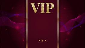 Карточка, плакат или рогулька приглашения VIP наградные для партии Золотой шаблон дизайна с блестящим текстом блеска декоративно иллюстрация вектора