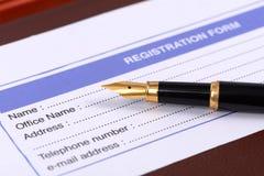 Карточка регистрации Стоковые Изображения RF