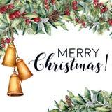 Карточка рождества акварели флористическая с гирляндой колоколов Вручите покрашенный snowberry и ель разветвляет, ягоды и листья, Стоковое фото RF