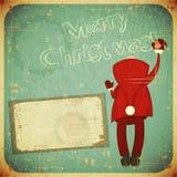 Карточка рождества ретро с Santa Claus иллюстрация штока