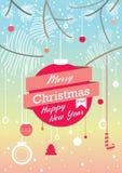 Карточка рождества голубого красного цвета ретро иллюстрация штока