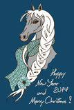 Карточка рождества и Нового Года 2014 с лошадью иллюстрация вектора