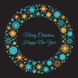 Карточка рождества и Нового Года с снежинками сини и золота Стоковые Изображения