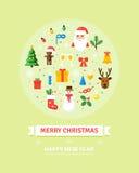 Карточка рождества и Новый Год приветствию Элементы зимних отдыхов Комплект характеров, объектов - иллюстрации в плоском стиле Стоковое фото RF
