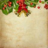 Карточка рождества падуба ретро Стоковое Фото