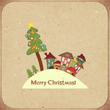 Карточка рождества ретро с домами Стоковые Фотографии RF