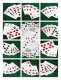 Карточка рук покера, комбинация коллажа удачи стоковое изображение rf