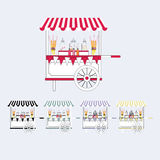 Карточка рынка тележки конфеты Продажа помадок и конфет на улице также вектор иллюстрации притяжки corel Стоковое фото RF