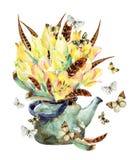 Карточка сада цветков и пер акварели Стоковые Фотографии RF