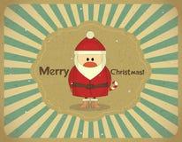 Карточка сбора винограда с Рождеством Христовым с Santa Claus иллюстрация вектора