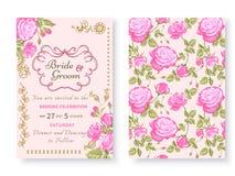 Карточка сбора винограда с розами Стоковое Фото
