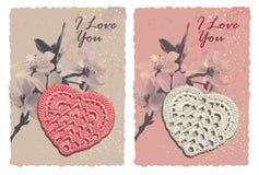 Карточка сбора винограда романтичная с сердцем Стоковое фото RF