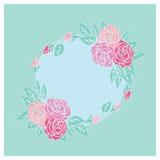 Карточка сбора винограда с розами Стоковое Изображение