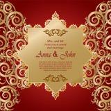 Карточка свадьбы, карточка приглашения с ornamental на красной предпосылке иллюстрация вектора