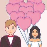 Карточка свадьбы с пожененными парами иллюстрация вектора