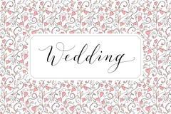 Карточка свадьбы с сердцами делает по образцу предпосылку, шаблон приглашения Каллиграфия написанная рукой изготовленная на заказ Стоковые Фотографии RF