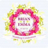 Карточка свадьбы вектора с красивыми розовыми цветками Стоковое Изображение RF
