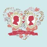 Карточка свадьбы вектора ornamental сердца Цветы иллюстрация вектора