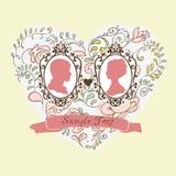 Карточка свадьбы вектора ornamental сердца Цветы иллюстрация штока