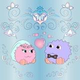 Карточка свадьбы жениха и невеста орнаментирует голубую предпосылку Стоковые Изображения