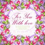 Карточка свадьбы с цветками сирени и подняла Стоковые Фото