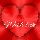 Карточка сердца треугольника красная с влюбленностью Стоковые Фотографии RF
