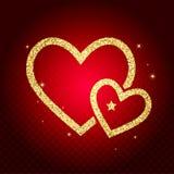 Карточка сердца яркого блеска золота Концепция карточки валентинки Illustra вектора Стоковые Фото