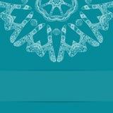 Карточка сини бирюзы с богато украшенной картиной и экземпляром Стоковое Изображение