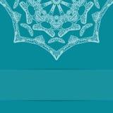 Карточка сини бирюзы с богато украшенной картиной и экземпляром Стоковые Фотографии RF