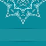 Карточка сини бирюзы с богато украшенной картиной Стоковая Фотография RF