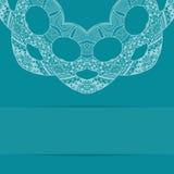 Карточка сини бирюзы с богато украшенной картиной Стоковые Изображения