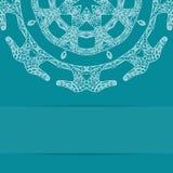 Карточка сини бирюзы с богато украшенной картиной Стоковая Фотография